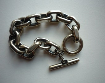 Vintage Heavy Chunky Oval Link Sterling Silver Toggle Bracelet