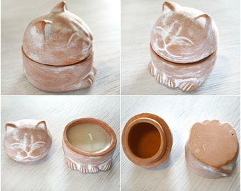Pet Gift Collectible Figurine Chubby Cat Candle Holder, Minimalist Terracotta Ceramic, Great Gift Idea for Cat Lover Wax Candle Clay Holder
