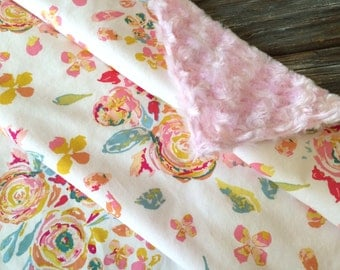 Baby/Toddler/Crib Blanket/Quilt, Nursery Decor, Photography Prop ~ Girly//Flora//Bright//Soft//Swirl//Vintage