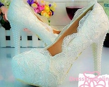 Lace and Pearls Wedding Pumps.