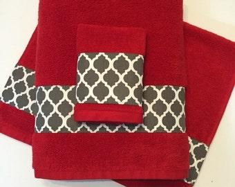 Kitchen Towel Set Black White Red Handmade Kitchen Black
