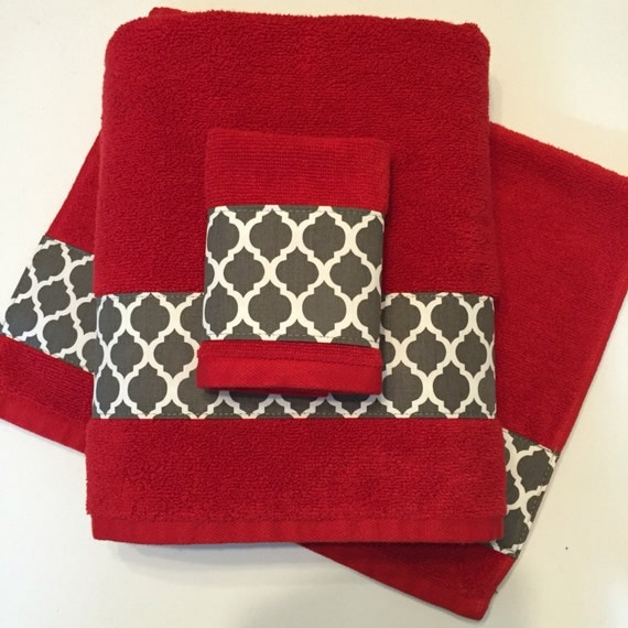 Red grey bath towels bathroom towel bath towel hand towel for Red and gray bathroom sets