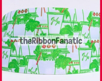 "5 yds 1.5"" Lilly Fabric Inspired Just Add Mint Julip Pink Green Grosgrain Ribbon"