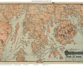 Mount Desert Island and the Coast of Maine 1890 Map - Reprint