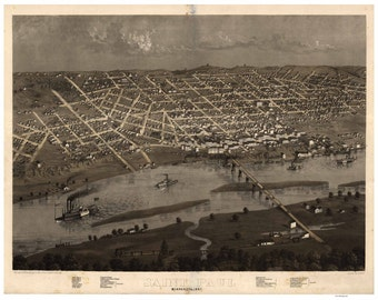 Saint Paul Minnesota - 1867 Birds Eye View - Reprint