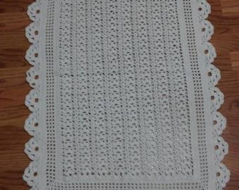 Soft white baby blanket