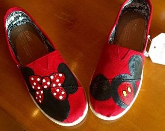 Mickey & Minnie handpainted Toms