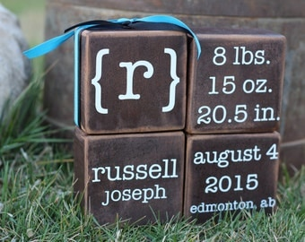 Birth announcement blocks.