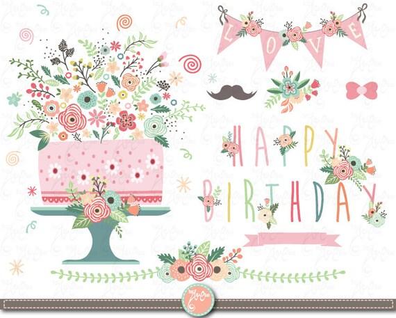 Flower Birthday Clip Art Floral Birthday Clipart Vintage Flowers