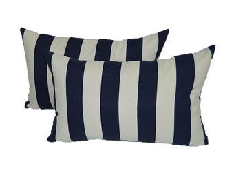 Set of 2 - Navy Blue & Ivory Stripe Decorative Indoor / Outdoor Rectangle / Lumbar Pillows
