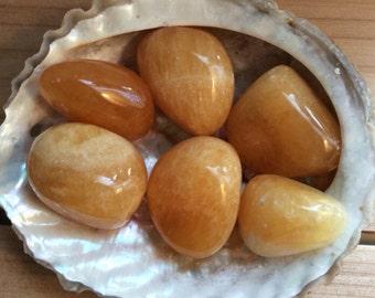 Orange Calcite Premium Tumbled Stone, Healing Stone, Healing Crystal, Chakra Stones, Spiritual Stone