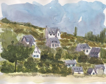 Houses in Morgat Bretagne original watercolor landscape painting Brittany art Brittany watercolor original wall art home decor green art