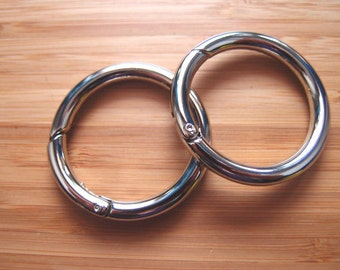 Snap O-Rings - Gate Hinged Rings 1.5 Inch / 38mm  - Silver Nickel / Antique Brass - opening rings - Bag and Purse Strap Hardware