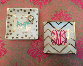 Gold Jewelry Dish, Monogrammed Jewelry Dish, Personalized Trinket Dish, Ceramic Jewelry Dish
