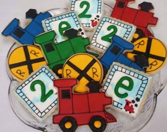 Train Birthday Cookies