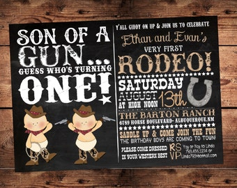 The Original Son of  a Gun guess who's turning one- Western Twin BirthdayInvitation - Digital