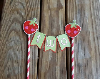 Strawberry Cake Topper, Strawberry Cake Bunting