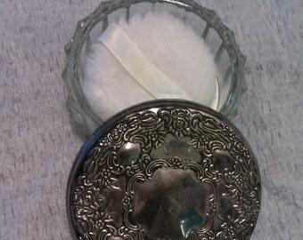 Vintage Crystal and Silver Plate Powder Box / Jar