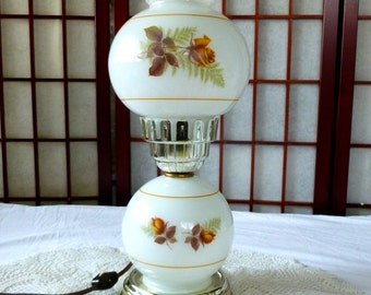 Vintage Electric Hurricane Lamp, Gone with the Wind Style, Parlor Table Lamp with Golden Yellow Roses and Silver Plate