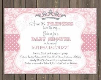 Little Princess Baby Shower Invitation, Little Princess Invite, Pink Damask, Grey Crown, Baby Girl Shower, Tiara, Royal