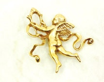 MMA Flying Cupid Brooch (Pin) with Ribbon, Signed, Gold Tone, Museum Replica,Vintage