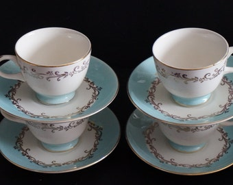 Vintage, Set of Four Lifetime Gold Crown Semi-Vitreous Cup and Saucer Sets