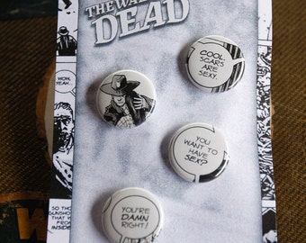 "Walking Dead Comics 1"" Buttons-recycled comics"
