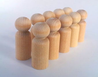 Wooden Peg Dolls / 10 Boys / Peg People / Waldorf / Unfinished Maple Ready to Paint / Ten Boys