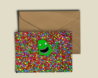 Dinosaur Smartie Bath! Any occasion birthday card. Tip-top quality A6 300GSM Card for any occasion.