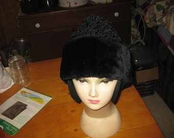 Vtg Mens Persian Lambs Wool Cossack Hat Mountain mens woodland Russian Diplomat hat XL ear covers quilted line  free ship