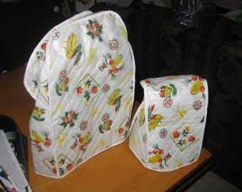 Vtg Mod Vinyl Quilted appliance covers Shabby Chic style veggie pattern on white with orange green yellow one sm one large free ship