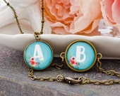 Personalized Jewelry, Vintage Style Floral Pendant and Bracelet Set, Initial Monogram Letter Pendant/Bracelet, Wedding /Birthday Gifts