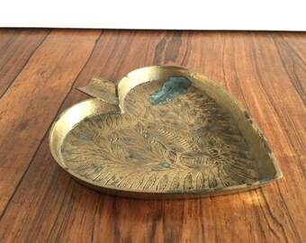 Vintage Brass Heart Dish