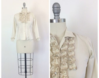 70s Miller Cream Women's Tuxedo Shirt / 1970s Vintage Ruffled Bust Cotton Blouse / Small / Size 4