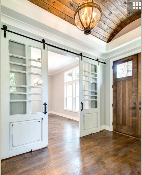 White distressed barn door with multiple window panes made to for Multiple sliding glass doors