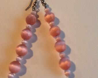 Earrings pink glass beads