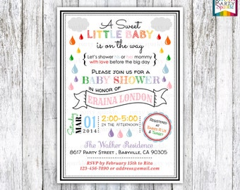 Rainbow Rain Drops Baby Sprinkle / Shower Invite - Gender Neutral - Digital Printable Invitation 4x6 or 5x7 jpg or pdf