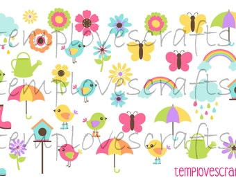 April Showers Bring May Flowers Clipart Set for ECLP, happy planner, filofax, plum paper planner, kikki k or any planner