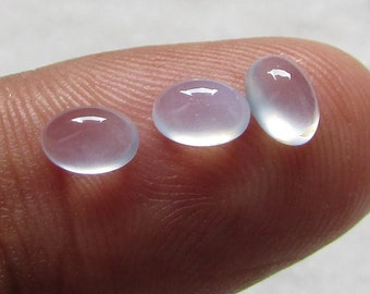 3pc 6x4mm Natural Chalcedony Oval cabochon 6x4mm orignal gemstone grantee whole-sale deal also available handmade stone blue chalcedony