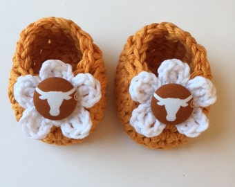 Texas Longhorns baby girl booties, baby booties, infant shoes, crochet baby booties, booties for baby, crochet baby shoes