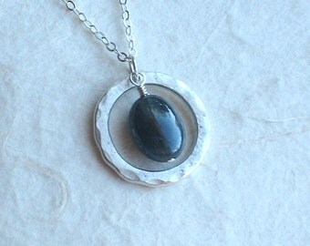 Sapphire Necklace - Polished Blue Gray Sapphire With Hammered Silver Ring Pendant Necklace - September Birthstone Jewelry