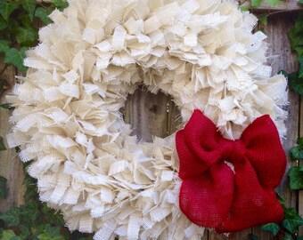 Holiday Wreath, Burlap Christmas Wreath, Christmas Rag Wreath, Burlap Rag Wreath, Burlap Knot Wreath, Rustic Christmas Wreath