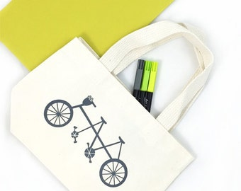 Set of 12 Bicycle Built for Two Custom Screen Printed Canvas Bags For Wedding Guests, Wedding Hotel Totes, reusable totes