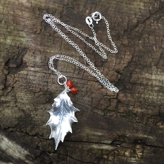 Sterling Silver Holly Leaf Necklace Christmas By GraceandFlora