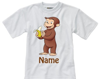 Personalised Curious George T-Shirt - Named - Adults & Children