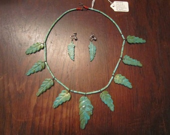 SALE Sandra Leekya  Turquoise Leaf Necklace and Earrings
