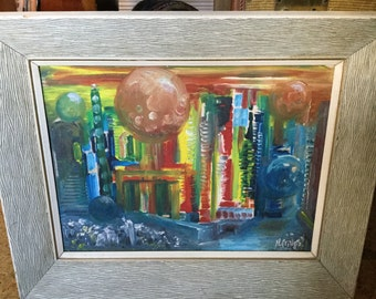 Vintage Mid Century Modern Futuristic Cityscape Oil Painting in Period Frame