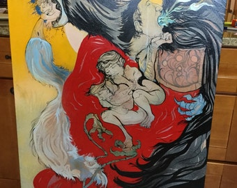 """Large J. Brent Painting """"Traditions"""" Acrylic on Canvas"""