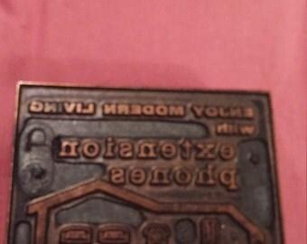 Vintage Copper Print Block Extension phone.