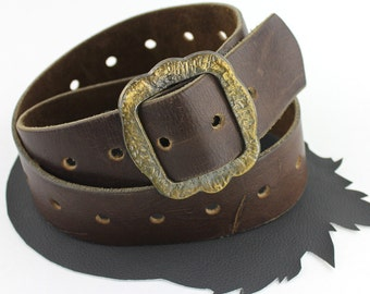 Old Western Brown Leather Belt with Adjustable Length Brass Buckle